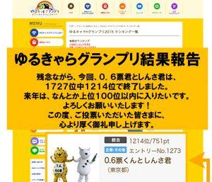 【「0.6票くんとしんさ君」のゆるキャラグランプリ2015、結果発表】2015-11-30 NEW!
