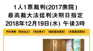 【1人1票裁判・最高裁大法廷判決は平成30年12月19日(水)午後3時に指定されました】 >>> 裁判トピックスを更新しました