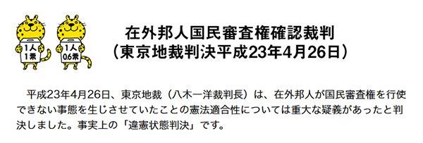 国民審査裁判情報を更新しました。⇒東京高裁判決言渡し来年3月5日